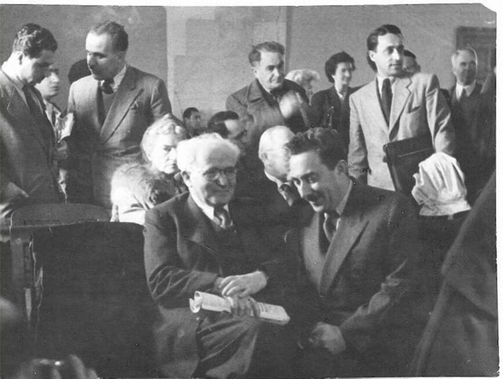 בן-גוריון עם משה שרת בוועדה האנגלו אמריקאית, 1946. מתוך פיקיויקי [public domain]