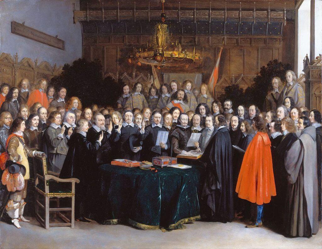 הסכמי וסטפליה. 1648. תמונה: ויקישיתוף. [Gerard ter Borch [Public domain