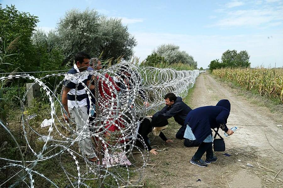 Migrants in Hungary near the Serbian border, 2015. Photo: Gémes Sándor/SzomSzed [CC BY-SA 3.0 (https://creativecommons.org/licenses/by-sa/3.0)] Wikimedia Commons