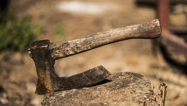 גרזן נעוץ בגזע עץ. תמונה ראשית: Bigstock
