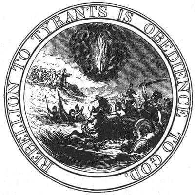 """""""מרד בעריצים הוא ציות לאל"""": בני ישראל בורחים מפרעה בים סוף. החותם שהציעו ג'ון אדמס ותומס ג'פרסון עבור ארצות הברית עם ייסודה, 1776."""