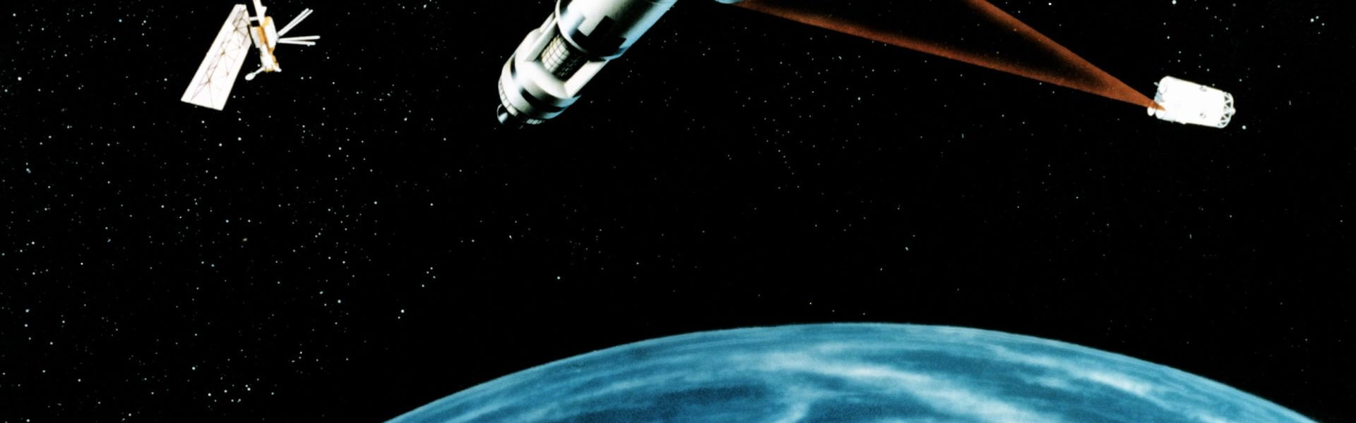 An artist's concept of a Space Laser Satellite Defense System., באדיבות ויקימדיה