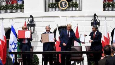 """חתימת """"הסכם השלום של אברהם"""" - אמנה לשלום, יחסים דיפלומטיים ונורמליזציה מלאה בין ישראל לבין איחוד האמירויות הערביות וממלכת בחריין. צילום: אבי אוחיון / לע""""מ"""