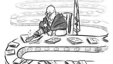 בתי המשפט, גיליון 21, איור: מנחם הלברשטט