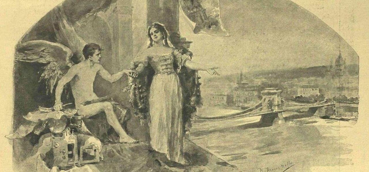 הזמנה בינלאומית ל'תערוכת המילניום' בבודפשט, 1896, מעשה ידי המאיירת והמעצבת נלי הירש. הירש היא דוגמה להשתלבות הנלהבת של היהודים באליטות התרבותיות של העיר: היא הייתה בתם של ליפוט הירש (אורמאני), יהודי שזכה בתואר אצולה הונגרי, הוביל את ענף הדפוס ושימש אף כראש התאחדות העובדים הכללית של הונגריה, ושל רוזה שוורץ; והייתה נשואה לסמואל ראדו (במקור: רוטפלד), עיתונאי וסופר שפעל בעיקר בווינה.