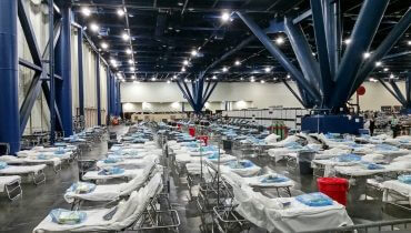 Federal Medical Stations (FMS) at George R. Brown Convention Center in Houston in response to the devastating aftermath of Hurricane Harvey. Original image sourced from US Government department: Public Health Image Library, Centers for Disease Control and Prevention.
