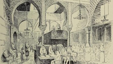 """איור של בית כנסת באלג'יר, מתוך """"האנציקלופדיה היהודית"""", באדיבות ויקימדיה."""