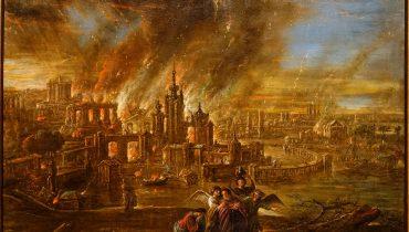 סדום ועמורה עולות באש, ג'ייקוב דה וט השני, גרמניה 1680. באדיבות ויקימדיה, cc 1.0