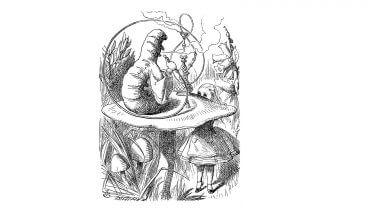 איור של דמות הזחל מתוך אליס בארץ הפלאות שכתב לואיס קרול, לשימוש חופשי, באדיבות ויקימדיה