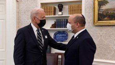 """רה""""מ נפתלי בנט ונשיא ארה""""ב ג'ו ביידן במהלך פגישתם בבית הלבן, צילום: אבי אוחיון, לע""""מ"""