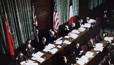 השופטים במשפטי נירנברג, 1945, באדיבות United States Holocaust Memorial Museum, courtesy of National Archives and Records Administration, College Park, לשימוש חופשי